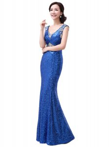 Dynamic Royal Blue Sleeveless Sequins Floor Length Homecoming Dress