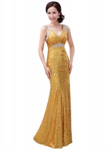Custom Fit Floor Length Zipper Dress for Prom Gold for Prom and Party with Sequins