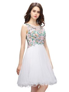 Beauteous Scoop Sleeveless Organza Mini Length Zipper Prom Dress in White with Beading and Embroidery