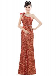 Superior Sequined One Shoulder Sleeveless Zipper Beading and Sequins in Orange
