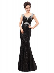 Black Sleeveless Sequins Floor Length Dress for Prom