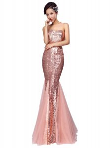 Mermaid Floor Length Pink Evening Dress Sequined Sleeveless Sequins