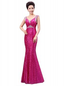 Fuchsia Column/Sheath Sequins Prom Dress Zipper Sequined Sleeveless Floor Length