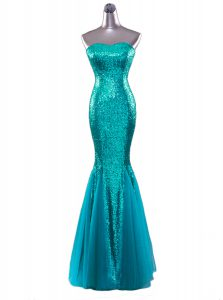 Customized Mermaid Sequins Strapless Sleeveless Zipper Prom Dress Turquoise Sequined