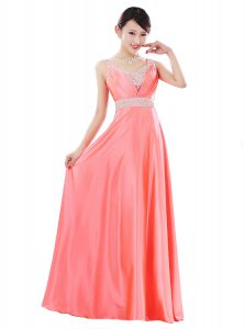 Stylish Sleeveless Floor Length Beading Zipper Dress for Prom with Watermelon Red