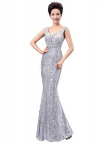 Fantastic Sleeveless Floor Length Sequins Zipper with Silver