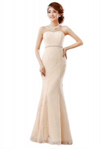 Fine Peach Zipper Sweetheart Beading and Lace Prom Evening Gown Lace Sleeveless