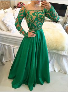 Green A-line Scoop Long Sleeves Taffeta Floor Length Side Zipper Beading and Appliques