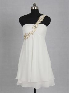 Mini Length White Evening Dress One Shoulder Sleeveless Zipper