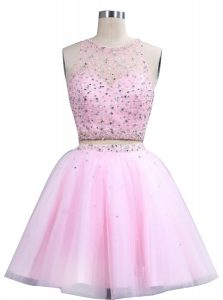 Hot Sale Scoop Knee Length Pink Prom Party Dress Organza Sleeveless Beading