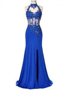 Stunning Backless Elastic Woven Satin Sleeveless Floor Length Prom Evening Gown and Beading and Appliques