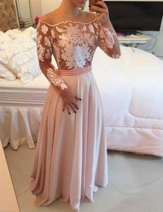 Scoop Beading and Appliques and Sashes ribbons Evening Dress Pink Side Zipper Long Sleeves Floor Length