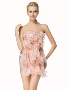 Perfect Scoop Sleeveless Chiffon Beading and Pleated Side Zipper