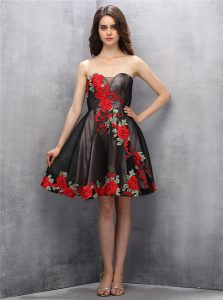 Sleeveless Mini Length Appliques Zipper Homecoming Dress with Brown and Pink And Black