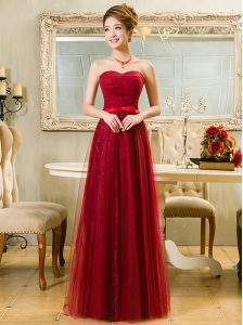 Suitable Red A-line Tulle and Lace Sweetheart Sleeveless Belt Floor Length Zipper
