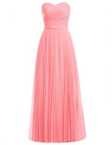 Excellent Floor Length Watermelon Red and Rose Pink Prom Dresses Sweetheart Sleeveless Zipper
