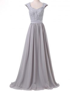 Super Scoop Grey Lace Up Prom Dress Lace and Pleated Cap Sleeves Floor Length