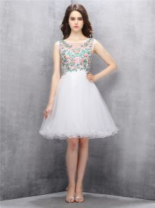 Colorful White Prom Gown Prom and Party with Beading and Embroidery Scoop Sleeveless Zipper