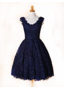 Sumptuous Lace V-neck Sleeveless Zipper Lace Evening Dress in Blue and Navy Blue
