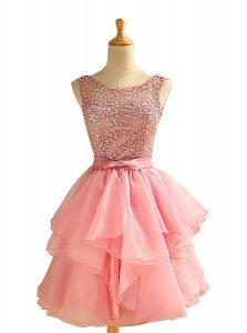 Eye-catching Pink Lace Up Scoop Lace and Ruching Prom Dress Chiffon Sleeveless
