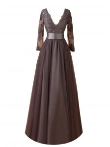 Most Popular Brown Prom Dresses Wedding Party with Lace V-neck Long Sleeves Zipper
