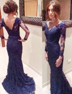 Mermaid Backless Lace Long Sleeves Prom Dress Court Train and Lace