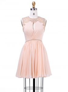 Scoop Mini Length Zipper Dress for Prom Peach for Prom and Party and Wedding Party with Beading and Pleated