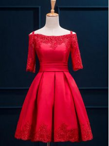 Red Off The Shoulder Lace Up Appliques and Pleated Half Sleeves