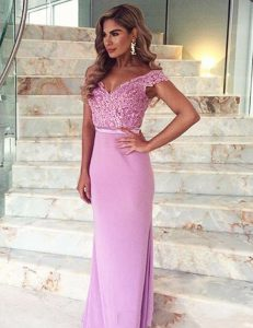 Mermaid Off the Shoulder Lilac Short Sleeves Elastic Woven Satin Brush Train Zipper Prom Dresses for Prom