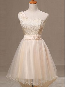 One Shoulder Sleeveless Organza Knee Length Lace Up Prom Dress in Champagne with Lace and Pleated and Hand Made Flower