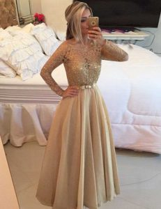 Adorable Champagne Long Sleeves Floor Length Beading and Lace Zipper Prom Evening Gown