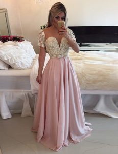 Attractive Scoop Pink Short Sleeves Chiffon Zipper Evening Dress for Prom
