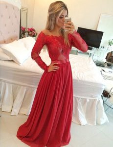 Custom Designed Off The Shoulder Long Sleeves Prom Dress Floor Length Appliques Red Chiffon