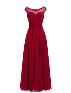 Flirting Scoop Wine Red Cap Sleeves Floor Length Appliques Zipper Prom Evening Gown