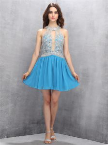 High End Halter Top Beading and Bowknot Prom Gown Baby Blue Zipper Sleeveless Mini Length