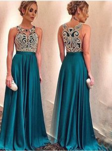 Gorgeous Scoop Sleeveless Floor Length Appliques Zipper Evening Dress with Teal