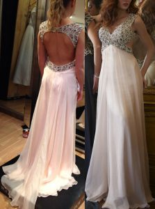Flare Sleeveless Brush Train Ruching Backless Prom Party Dress