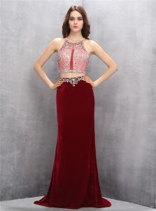 On Sale Scoop With Train Criss Cross Dress for Prom Burgundy for Prom with Beading Sweep Train