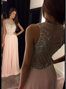 Scoop Beading Pink Side Zipper Sleeveless Asymmetrical