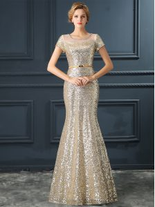 Mermaid Scoop Sequins Champagne Cap Sleeves Sequined Zipper Homecoming Dress for Prom and Party