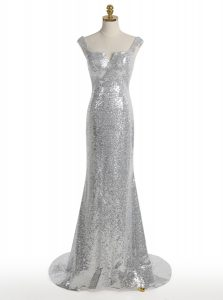 Admirable Mermaid Square Silver Sleeveless Sweep Train Sequins With Train Prom Evening Gown
