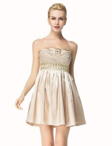 Champagne A-line Beading and Pleated Prom Gown Side Zipper Satin Sleeveless Mini Length
