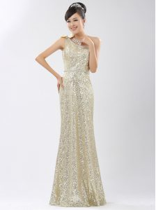 One Shoulder Sequined Sleeveless Floor Length and Sequins