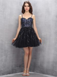 Nice Tulle Spaghetti Straps Sleeveless Lace Up Sequins Prom Gown in Black
