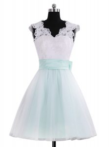Blue And White A-line Tulle V-neck Sleeveless Lace and Sashes ribbons Mini Length Zipper