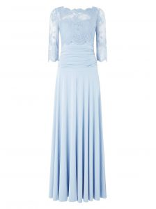 Light Blue 3 4 Length Sleeve Floor Length Lace Zipper Evening Dress
