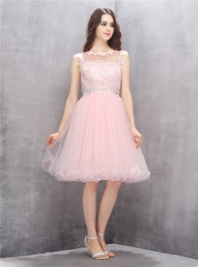 Scoop Organza Sleeveless Knee Length Prom Evening Gown and Beading and Appliques