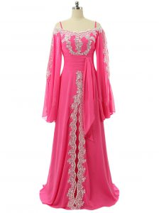 Affordable Hot Pink Zipper Spaghetti Straps Lace and Sequins Prom Dresses Chiffon Long Sleeves Sweep Train