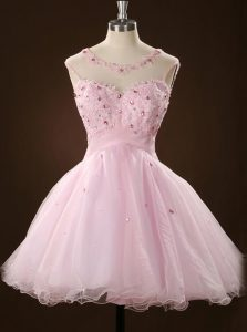 Tulle Scoop Sleeveless Zipper Beading and Appliques Prom Party Dress in Pink