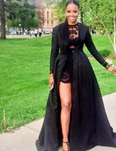 Pretty Black A-line Scoop Long Sleeves Lace Floor Length Zipper Lace Homecoming Dress